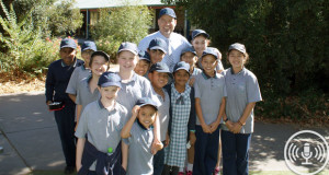 Clayton Reedie with his students. Photo: Supplied